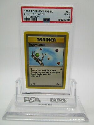 PSA 9 MINT Energy Search 1999 Fossil 1st Edition Pokemon Card 59/62