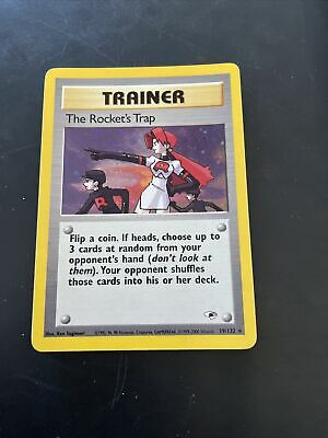 HOLO The Rocket's Trap 19/132  Gym Heroes Pokemon Card 2000 Trainer NEAR MINT