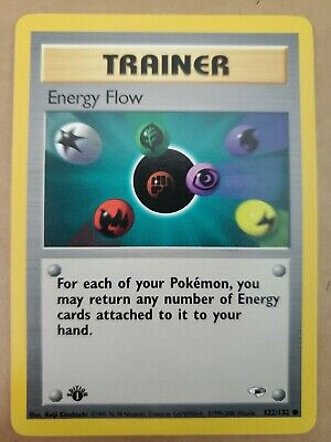 ENERGY FLOW 1st Edition Gym Heroes 122/132 Pack Fresh Pokemon Card