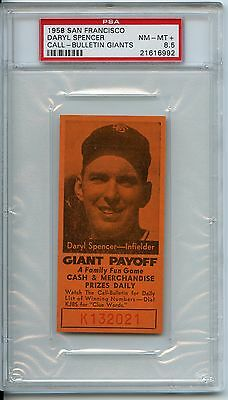 1958 San Francisco Daryl Spencercall-bulletin Giants Psa 8.5  Pop 1