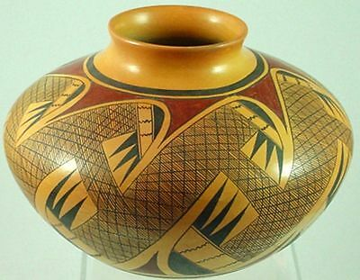 Hopi Hand Coiled & Painted Migration Feather Pottery By Vernida Polacc Nampeyo