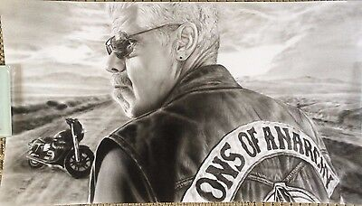 Sons Of Anarchy Clay Art Charcoal Drawing 10x18""