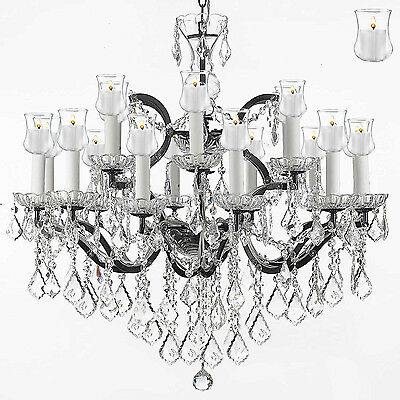 """19th C. Rococo Iron&crystal Chandelier Lighting W/ Candle Votives H 28""""  W 30"""""""