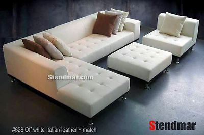 4-piece Modern Leather Sectional Sofa Set S4707l