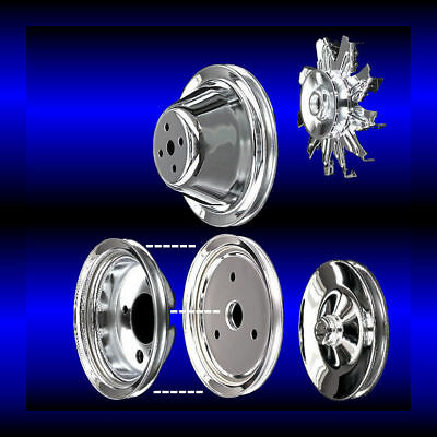 Chrome 5 Pulley Set For Small Block Chevy Short Water Pump  Pulleys 283 327 350