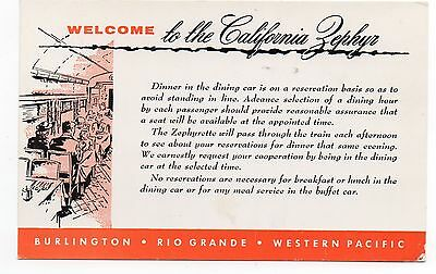 1960 Western Pacific Railroad California Zephyr  Dinner Accommodation Card