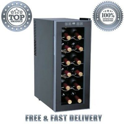 Sunpentown Thermal Electric 12-bottle Slim Wine Cooler Double-pane Glass Door