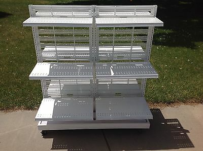 "12 Units Store Display Fixtures Double Sided Gondola White 60""h On Casters~150lb"