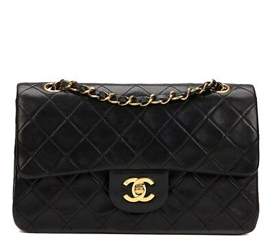 chanel black quilted lambskin vintage small classic double flap bag hb821