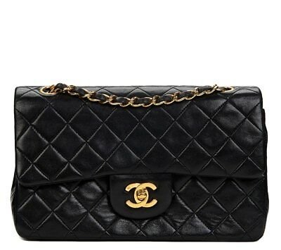 chanel black quilted lambskin vintage small classic double flap bag hb476