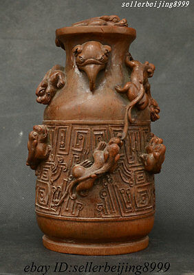 """8"""" Collect China Natural Bamboo Pure Hand Carving Wealth Kylin Beast Bottle Vase"""