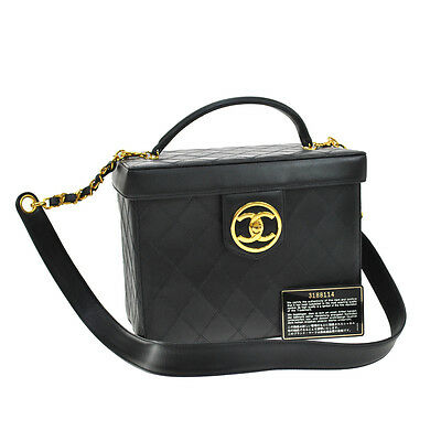 Auth Chanel Quilted Cc 2way Cosmetic Vanity Hand Bag Black Leather Vtg Ak11949