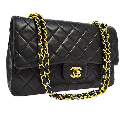 Auth Chanel Quilted Cc Double Flap Chain Shoulder Bag Black Leather Vtg S04024