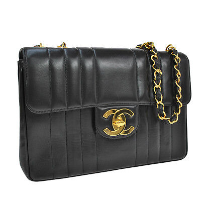 Auth Chanel Jumbo Quilted Cc Chain Shoulder Bag Black Leather Vintage Ak10541