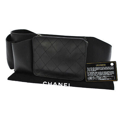 Authentic Chanel Quilted Cc Logos Bum Bag Black Leather Vintage Romania V10091