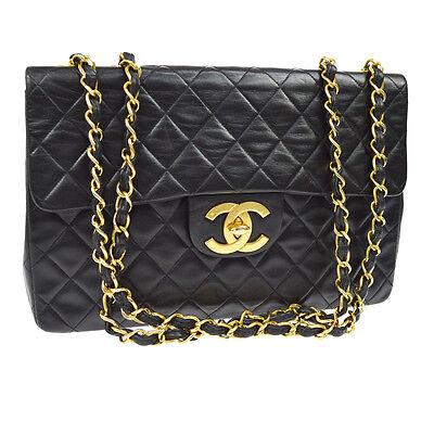 Auth Chanel Jumbo Quilted Cc Double Chain Shoulder Bag Black Leather Vtg B30997
