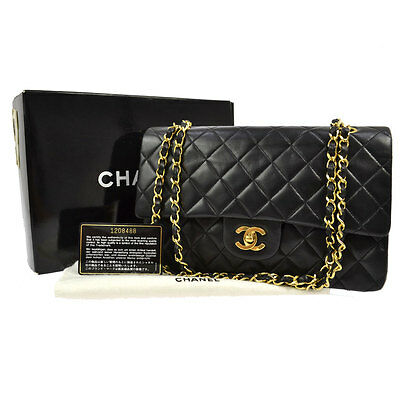 Auth Chanel Quilted Cc Double Flap Chain Shoulder Bag Black Leather Vtg B29601