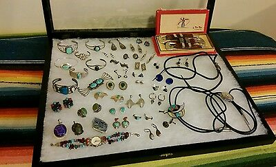 43 Pc Lot Vintage Southwest Native American Sterling Silver Jewelry Turquoise