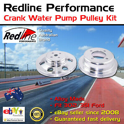 New Redline Alloy Crank Water Pump Pulley Kit 302 351 Fits Ford Cleveland
