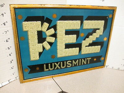 Pez 1930s Luxusmint Tin Metal Sign Embossed Store Display Candy Pre-wwii 1930s