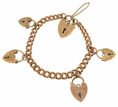 Vintage English 5 Heart Lock Charms 9k Rose Gold Hollow Link Mechanical Bracelet