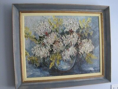 Oil Painting Still Life Abstract Brilliant Spider Mums Heavy Textured, C1930