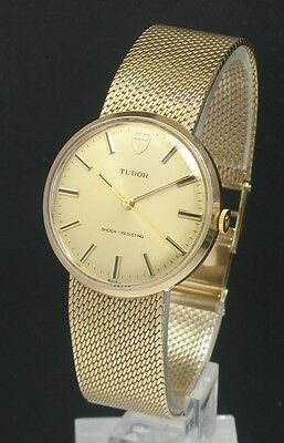 Mint Completely Original Solid 9ct Gold Rolex Tudor Mens Watch Box Papers C1980