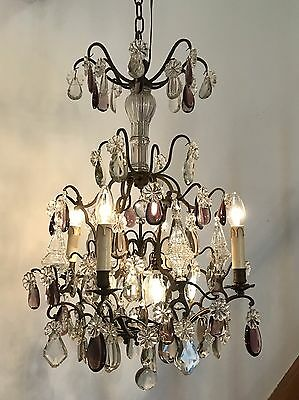 French Crystal Bronze Coco Chanel Birdcage Chandelier Baroque Rococo Bagues Lamp