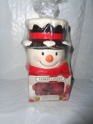 New - Yankee Candle Snowman - Tea Light Holder With Cherries On Snow Candles