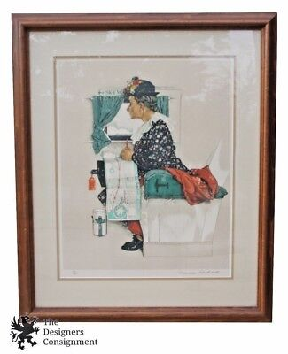 Vintage Norman Rockwell Signed Lithograph 83/200 First Flight Old Woman Airplane