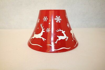 Yankee Candle Red & White Reindeer Flying & Snowflakes Christmas Candle Shade