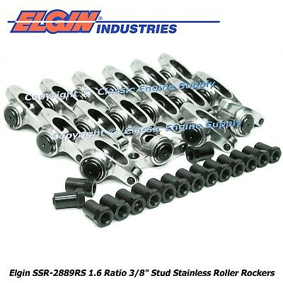 "Stainless Steel Roller Rocker Arms 1.6 Ratio 3/8"" Studs Ford 289 302 351w"