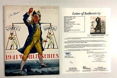 1941 World Series Baseball Program Autographed Cover Joe Gordon Yankee Jsa