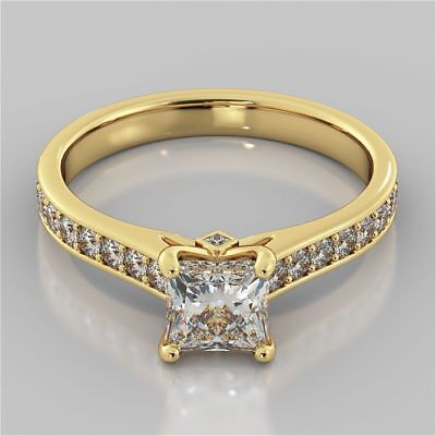 Pave 1.30 Cts Natural Diamonds Engagement Ring In Solid Hallmark 14k Yellow Gold