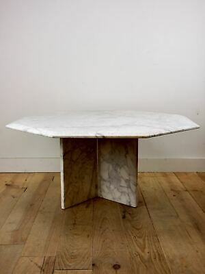 vintage white marble coffee table  octagonal