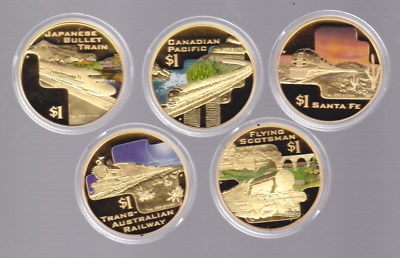 2004 Great Rail Journeys Of The World Gold Plated Silver Set