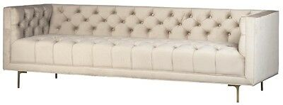 """90"""" Liberato Sofa Brass Frame Tufted Off White Suede Upholstery Traditional"""
