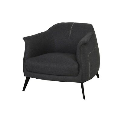 """32"""" Arm Chair Steel Frame And Legs Dark Grey Polyester Upholstery Curved Back"""