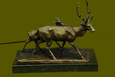 Two Walking Stag By French Artist Bugatti Bronze Sculpture Lost Wax Method Decor