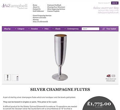 J A Campbell Silversmith Hallmarked Solid Sterling Silver Gilt Champagne Flutes