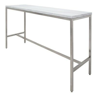 """60"""" Long Bar Table Solid White Marble Top Brushed Stainless Steel Base"""
