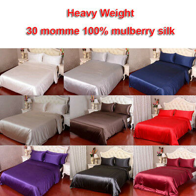 4pc 30mm 100% Mulberry Silk Duvet Quilt Cover Fitted Bottom Sheet Pillowcase Set