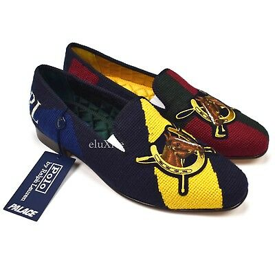 nwt palace ralph lauren polo logo multicolor horse loafers slippers 10 authentic