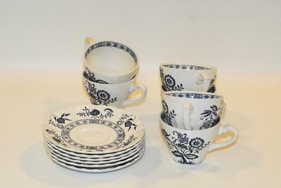 4 j and g meakin blue nordic cup cups and saucer saucers