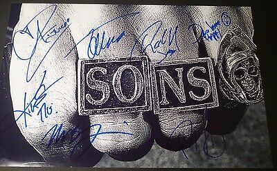Sons Of Anarchy Cast(x7)authentic Hand-signed 11x17 Photo(charlie Hunnam)(proof)