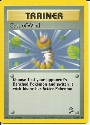 Pokemon Trainer Gust Of Wind 120/130 Common Nm Card    Base Set 2
