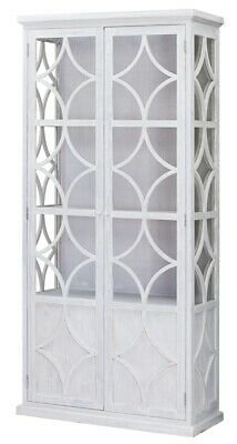 """87"""" T Cabinet Hand Crafted Reclaimed Pine Wood Glass Doors White Paint Finish"""