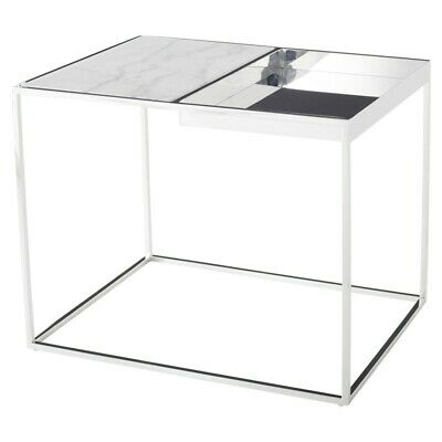 """30"""" W Side Table Inset White Marble Adjacent Basin Polished Stainless Steel Base"""