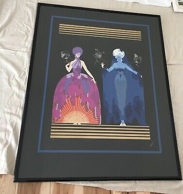 Limited Edition Erte Evening Night Embossed Serigraph, Signed 182/300
