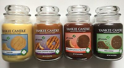 Yankee Candle Thin Mints Trefoils Chocolate Peanut Butter Coconut Caramel Stripe